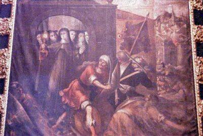Retablo Expulsion De Los Sarracedos por Clara de Asís en Santa Clara