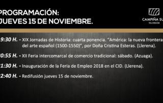 15 de noviembre programación Campiña Sur TV