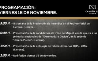16 noviembre programación campiña Sur TV