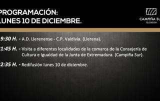 10 diciembre programación Campiña Sur TV