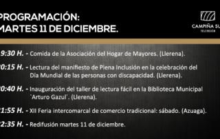 11 diciembre programación Campiña Sur TV