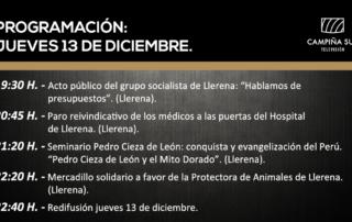 13 diciembre programación campiña sur TV