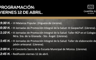 12 abril programación Campiña Sur TV