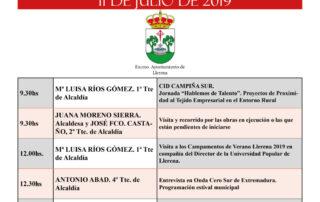 11 de julio de 2019 agenda municipal llerena