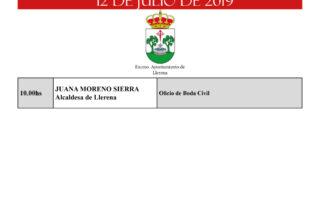 agenda municipal llerena 12 de julio 2019